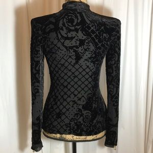 Balmain X HM Black Flocked Velvet Silk Blouse Sz 4